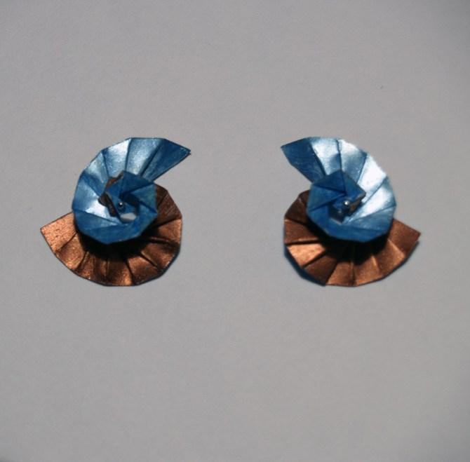 Earrings Spirals copper and blue site